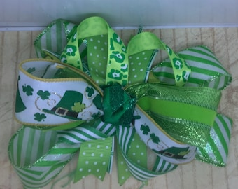 Handmade Boutique stacked hair bow st. Patrick's green 5""