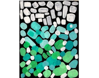 Abstract Acrylic Painting Colorful Pastel Green Color Monochromatic Ombre Colors Black Background Modern Art Home Decor