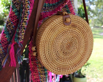 Round Woven Bali/Boho Style Straw Bag
