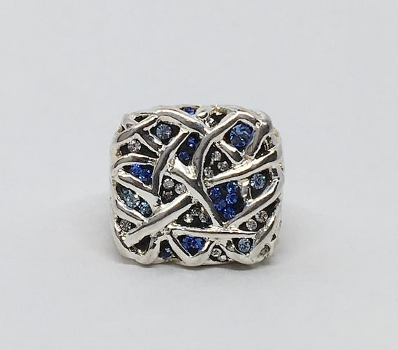 Silver and Crystal Web Ring