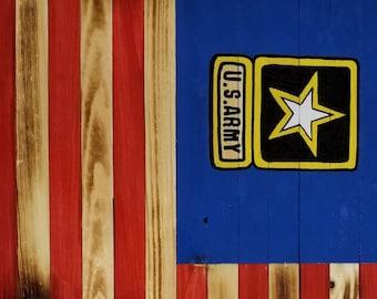 Army/Navy Wood Flag
