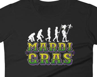 Womens Evolution Mardi Gras Shirt Ladies Fitted Tee Women Mardi Gras T Shirt Graphic Tee Cute Mardi Gras Shirts for Women