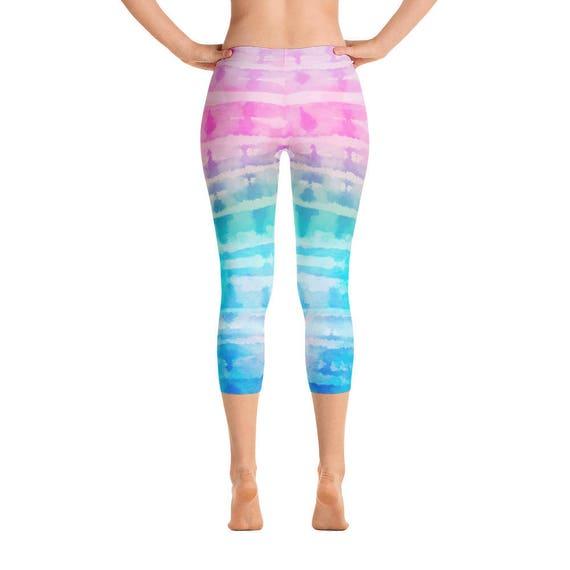 fc027ee54403 Tie Dye Capri Leggings Pastel Rainbow Pastel Ombre Pink Blue | Etsy