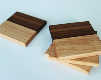 Walnut and maple coasters - set of 4