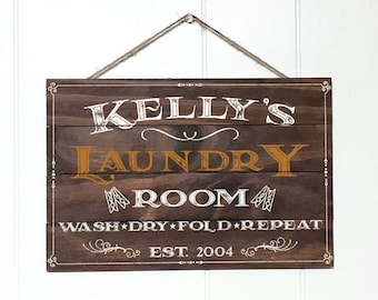 Personalized Laundry Room Decor Sign, Custom Rustic Wood Laundry Sign