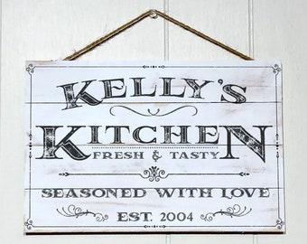 Personalized Kitchen Sign, Rustic Kitchen Decor, Custom Kitchen Sign, Wood Sign, Kitchen Wall Decor, Kitchen Wall Art, Custom Name & Year