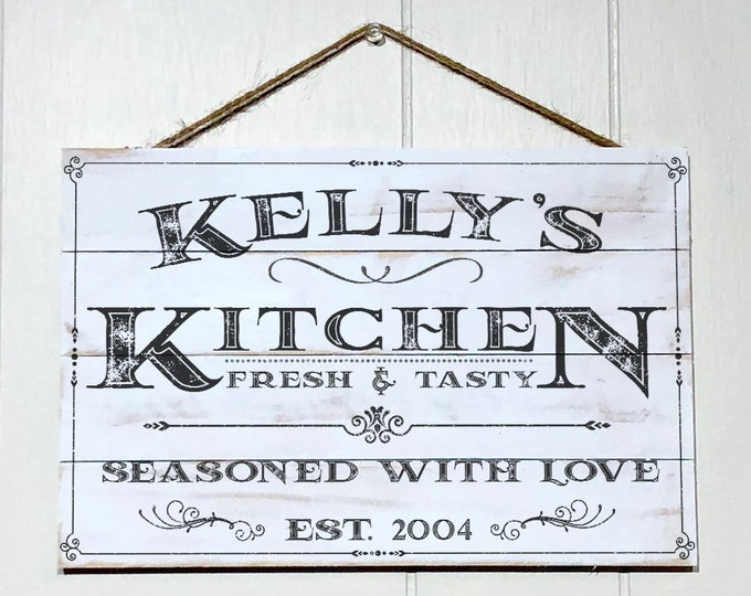 Featured listing image: Personalized Kitchen Sign, Rustic Kitchen Decor, Custom Kitchen Sign, Wood Sign, Kitchen Wall Decor, Kitchen Wall Art, Custom Name & Year