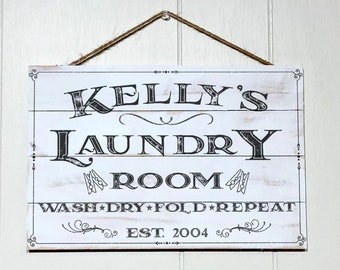 Personalized Laundry Room Decor Sign, Custom Rustic Wood Laundry Sign, Vintage Wood Pallet Sign Name and Established Year