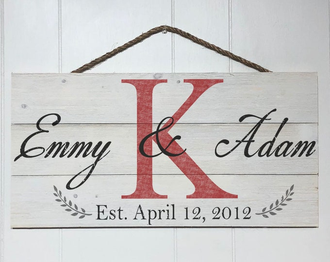 Personalized Family Sign, Custom Couple Names Wood Sign, Rustic Family Sign, Established Sign, Family Name Wooden Sign, Farmhouse Sign