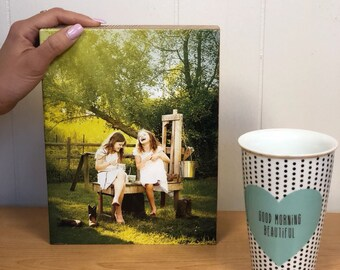 """Personalized Picture on Wood, Custom Photo on Wood Block (8x10"""") Customized Wood Print, Photo Transfer, Wood Photo Gift 5th Anniversary Gift"""