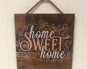 Home Sweet Home Sign, Rustic Home Decor, New Home Gift, Farmhouse Bran Wood Wall Art, First Home Gift