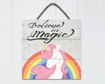 "Unicorn Sign ""Believe in Magic"" Rustic Wood Sign, Nursery Room Sign, Unicorn Decor, Unicorn Wall Art, Unicorn Wall Decor Unicorn Wooden Sign"
