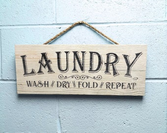 "Laundry Room Decor, Rustic Wood Laundry Room Sign, Farmhouse Bran Wood Wall Art ""Wash Dry Fold Repeat"""
