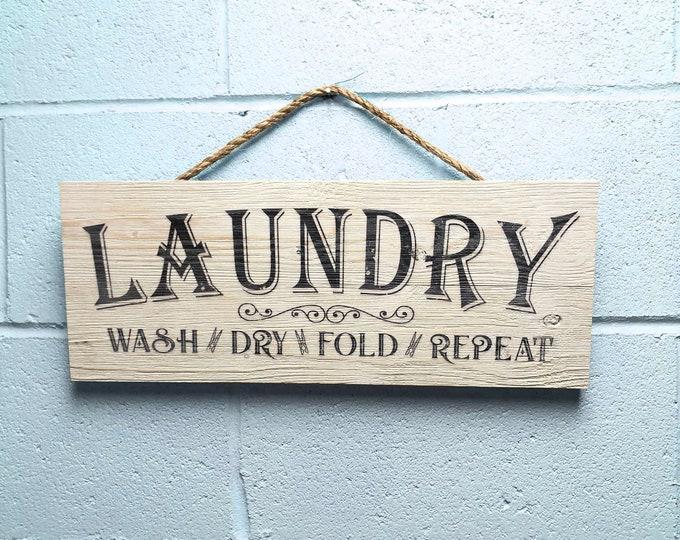 "Laundry Room Decor, Rustic Wood Laundry Room Sign, Farmhouse Bran Wood Wall Art ""Wash Dry Fold Repeat"""