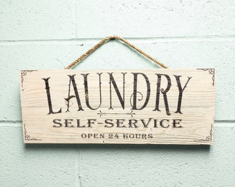 "Laundry Room Decor, Rustic Wood Laundry Room Sign, Farmhouse Bran Wood Wall Art ""Self Service Open 24 Hours"""