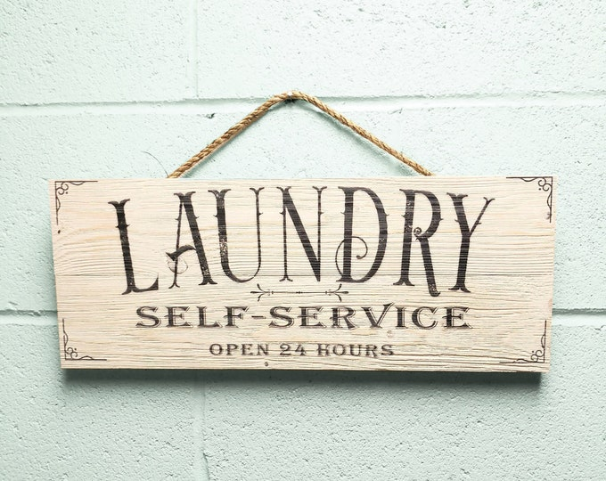 """Laundry Room Decor, Rustic Wood Laundry Room Sign, Farmhouse Bran Wood Wall Art """"Self Service Open 24 Hours"""""""