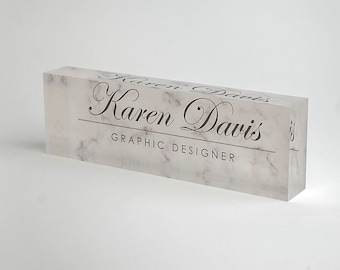 Personalized Desk Name Plate – Custom Name on White Marble Design - Acrylic Glass Office Decor Appreciation Gift