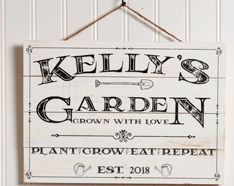 Personalized Garden Sign, Rustic Wood Garden Pallet Sign Vintage Garden Decor, Gardening Gift, Custom Name & Established Year Gardener Gift