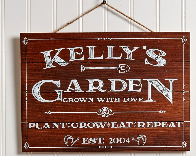 Personalized Garden Sign, Rustic Wood Garden Pallet Sign Vintage Garden Decor, Gardening Gift, Custom Name & Established Year Gardener Gift