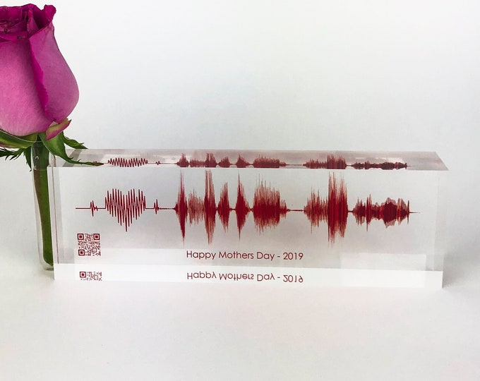 Valentines Day Sound Wave Art  - Custom Soundwave of your Personal Voice or Song Printed on Acrylic Glass Block