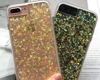 iPhone 7 Plus Glitter Case HANDMADE Clear Confetti Blast Iridescent Bling Holographic iPhone 8 Plus Case, iPhone X Case, iPhone 6s Plus Case