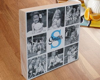 Personalized Family Photo Collage Gift, Custom Picture Collage & Monogram Family Name, Family Photos on Wood, Family Photo Art, Family Print