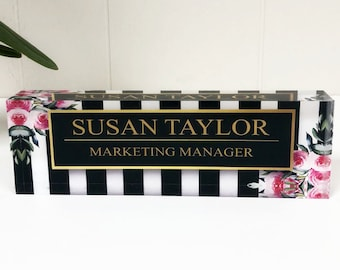 Personalized Desk Name Plate - Name & Title on Stripes and Roses Clear Acrylic Glass Block, Custom Office Nameplate Unique Appreciation Gift
