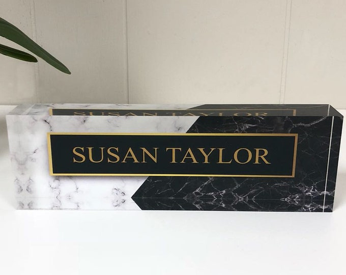 Personalized Desk Name Plate – Custom Name on Marble Design - Acrylic Glass Office Decor Appreciation Gift