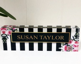 Personalized Desk Name Plate - Your Name on Stripes & Roses Clear Acrylic Glass Block, Custom Office Nameplate Unique Appreciation Gift