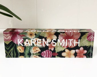Personalized Desk Name Plate | Custom Name Tropical Flowers Design on Acrylic Glass | Office Personalised Gift
