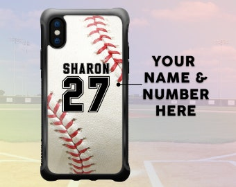 iPhone X Baseball Case Personalized Name & Number, Custom Baseball iPhone 7 Plus Case, iPhone 8 Plus Case Sport Protective Durable Case