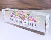 Personalized Name Plate for Desk Succulents Design On Clear Acrylic Glass Custom Office Decor Nameplate Sign Personalized Gift