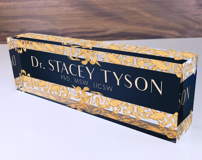 Personalized Name Plate for Desk | Leaf Gold Design On Clear Acrylic Glass | Custom Office Decor Nameplate Sign | Personalized Gift