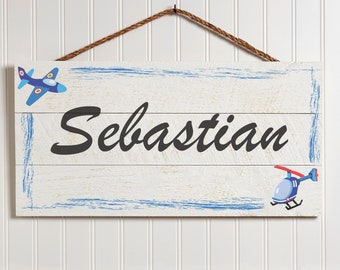 Wooden Name Sign & Plane | Personalized Signs | Custom Sign Wood Plaque | Baby Sign Gifts for Boys Nursery Decor for Kids Bedroom