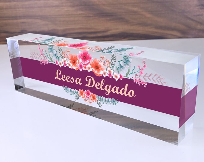 Personalized Name Plate for Desk | Wild Flowers Design On Clear Acrylic Glass | Custom Office Decor Nameplate Sign | Personalized Gift