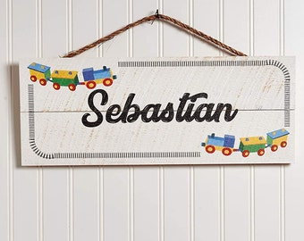 Wooden Name Sign & Train | Personalized Signs | Custom Sign Wood Plaque | Baby Sign Gifts for Boys Nursery Decor for Kids Bedroom