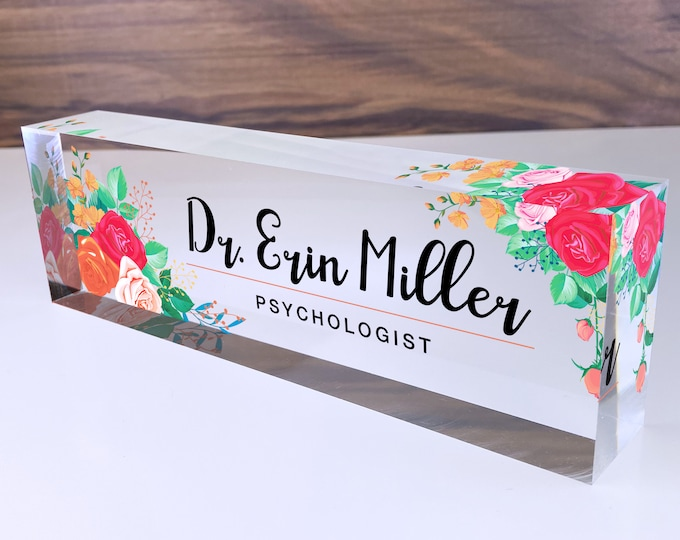 Personalized Name Plate for Desk | Mixed Flowers Design On Clear Acrylic Glass | Custom Office Decor Nameplate Sign | Personalized Gift