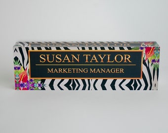 Personalized Desk Name Plate - Name & Title on Zebra and Flowers Clear Acrylic Glass Block Custom Office Name Plate Unique Appreciation Gift