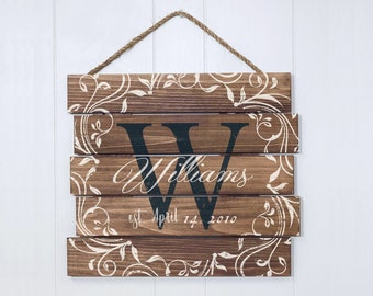 Personalized Family Sign, Custom Last Name Wood Sign, Rustic Family Sign, Established Sign, Family Name Wooden Sign, Farmhouse Sign
