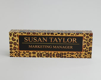 Personalized Desk Name Plate - Name & Title on Leopard Design Clear Acrylic Glass Block, Custom Office Name Plate Unique Appreciation Gift