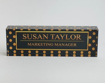 Personalized Desk Name Plate - Name & Title on Gold Polka Dots Clear Acrylic Glass Block, Custom Office Name Plate Unique Appreciation Gift