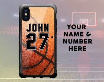 iPhone X Basketball Case Personalized Name & Number, Custom Basketball iPhone 7 Plus Case, iPhone 8 Plus Case Sport Protective Durable Case