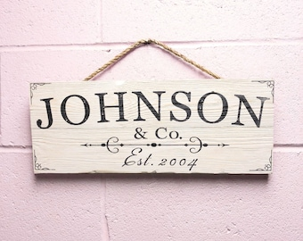 Custom Family Sign, Personalized Last Name Wood Sign, Rustic Family Sign, Established Sign, Family Name Wooden Sign, Farmhouse Sign