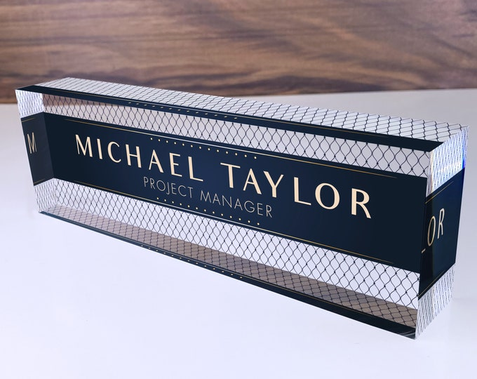 Personalized Name Plate for Desk | Net Shape Design On Clear Acrylic Glass | Custom Office Decor Nameplate Sign | Personalized Gift