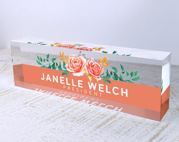 Personalized Name Plate for Desk | Orange Roses Design On Clear Acrylic Glass | Custom Office Decor Nameplate Sign | Personalized Gift