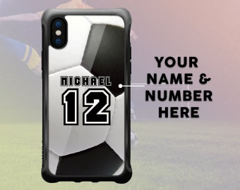 iPhone X Soccer Case Personalized Name & Number, Custom Soccer Football iPhone 7 Plus Case iPhone 8 Plus Case Sport Protective Durable Case