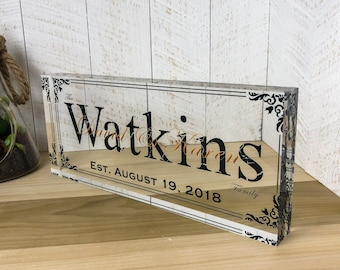 "Unique Personalized Acrylic Glass / Wedding Gift / Established Date / Last Name Sign / Family Name Sign / Wedding Sign / Custom Sign (12x5"")"