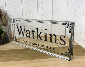 Personalized Wedding Gifts | Last Name Signs for Home Art Prints On Acrylic Block Name Plates for Desks | Wedding Shower Gifts - (12x5)