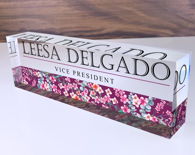 Personalized Name Plate for Desk | Mixed Wild Flowers Design On Clear Acrylic Glass | Custom Office Decor Nameplate Sign | Personalized Gift