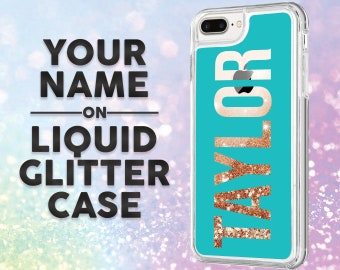 iPhone 7 Plus Case Personalized Name Liquid Glitter Bling Sparkle iPhone 8 Plus Case, iPhone X Case, iPhone 6s Plus Case, Unique Custom Gift